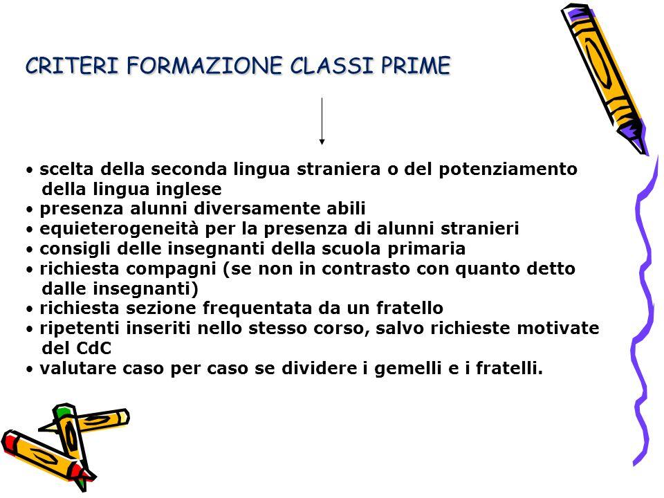 CRITERI FORMAZIONE CLASSI PRIME