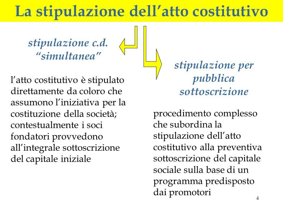 La stipulazione dell'atto costitutivo