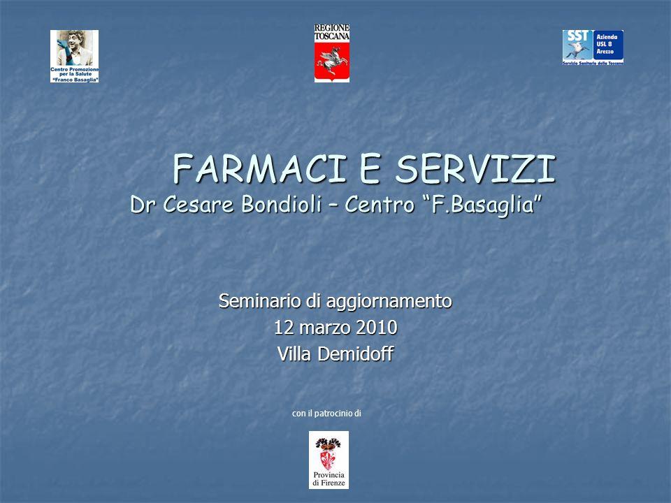 FARMACI E SERVIZI Dr Cesare Bondioli – Centro F.Basaglia