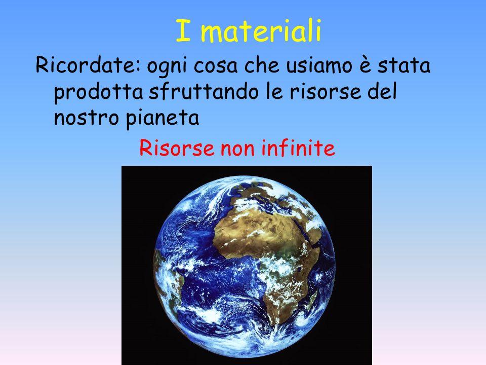I materiali Ricordate: ogni cosa che usiamo è stata prodotta sfruttando le risorse del nostro pianeta.