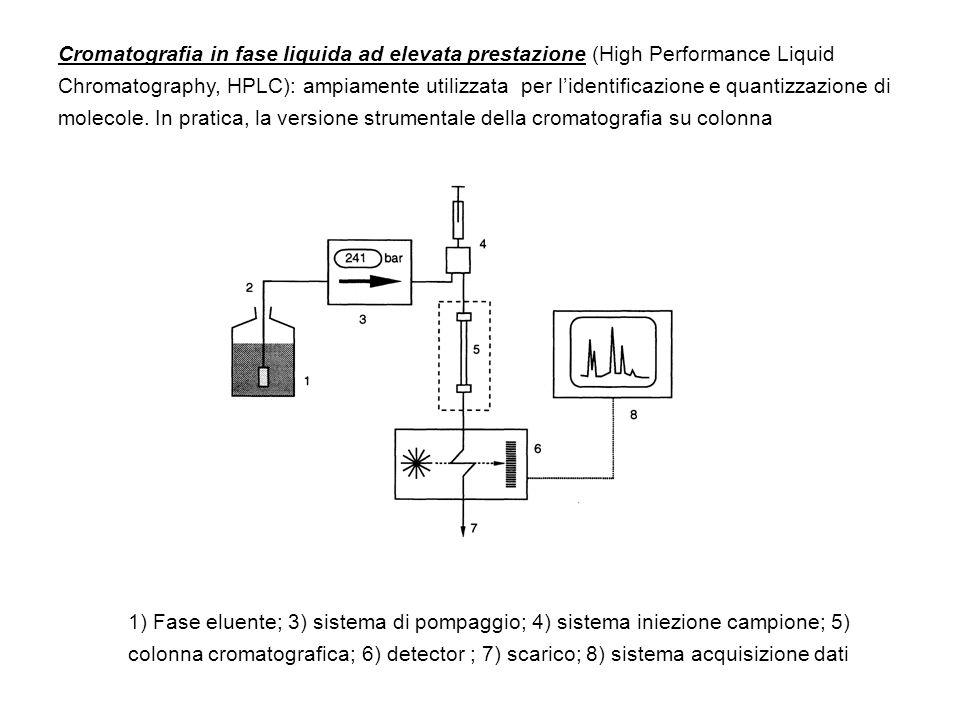 Cromatografia in fase liquida ad elevata prestazione (High Performance Liquid Chromatography, HPLC): ampiamente utilizzata per l'identificazione e quantizzazione di molecole. In pratica, la versione strumentale della cromatografia su colonna