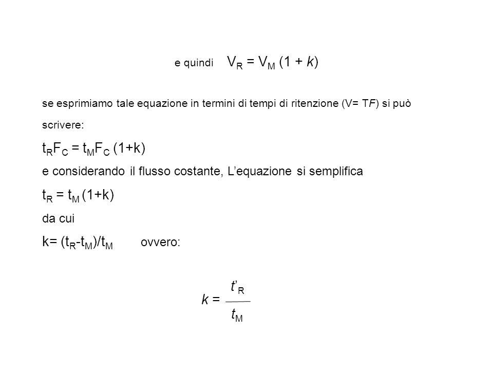 tRFC = tMFC (1+k) tR = tM (1+k) k= (tR-tM)/tM ovvero: t'R k = tM