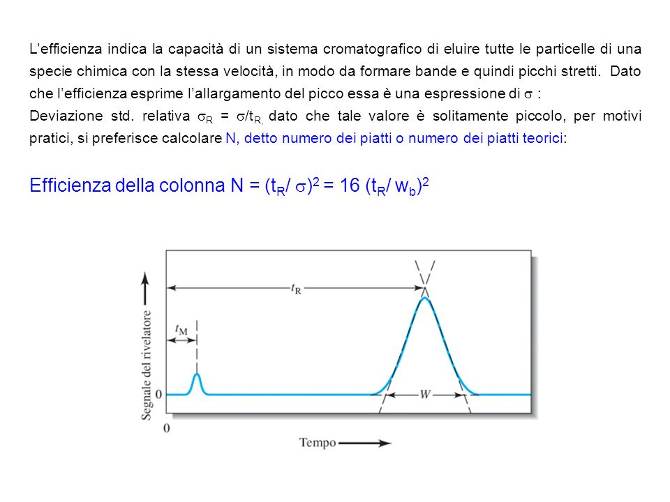 Efficienza della colonna N = (tR/ )2 = 16 (tR/ wb)2