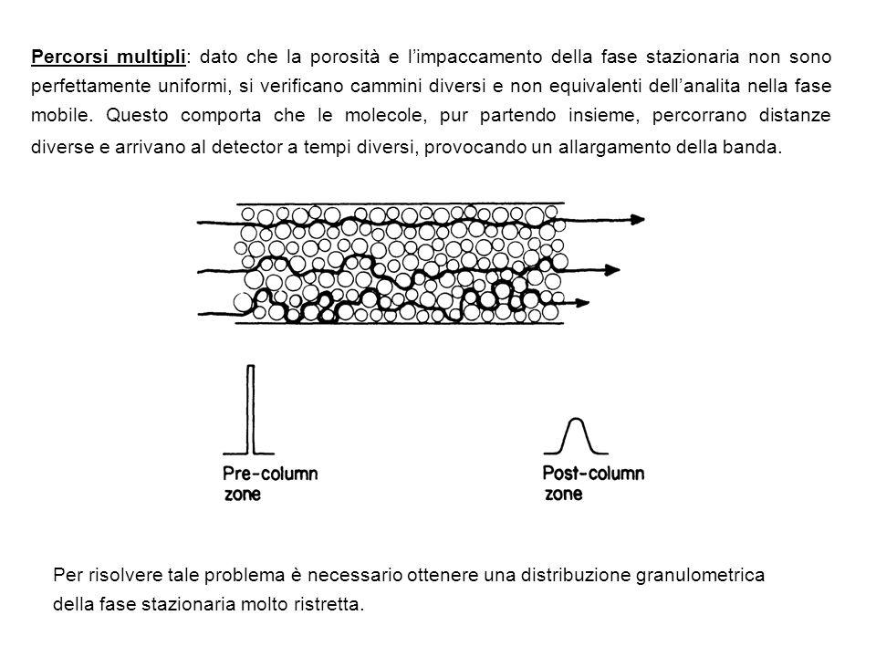 Percorsi multipli: dato che la porosità e l'impaccamento della fase stazionaria non sono perfettamente uniformi, si verificano cammini diversi e non equivalenti dell'analita nella fase mobile. Questo comporta che le molecole, pur partendo insieme, percorrano distanze diverse e arrivano al detector a tempi diversi, provocando un allargamento della banda.
