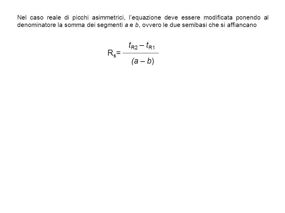 Nel caso reale di picchi asimmetrici, l'equazione deve essere modificata ponendo al denominatore la somma dei segmenti a e b, ovvero le due semibasi che si affiancano