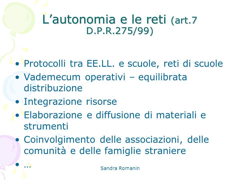 L'autonomia e le reti (art.7 D.P.R.275/99)