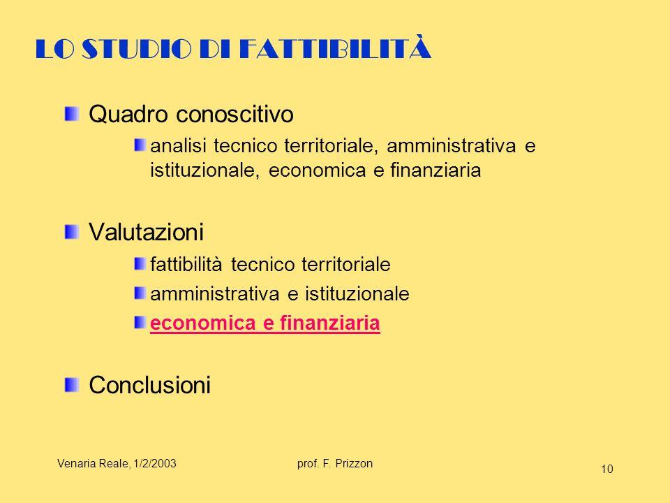 LO STUDIO DI FATTIBILITÀ
