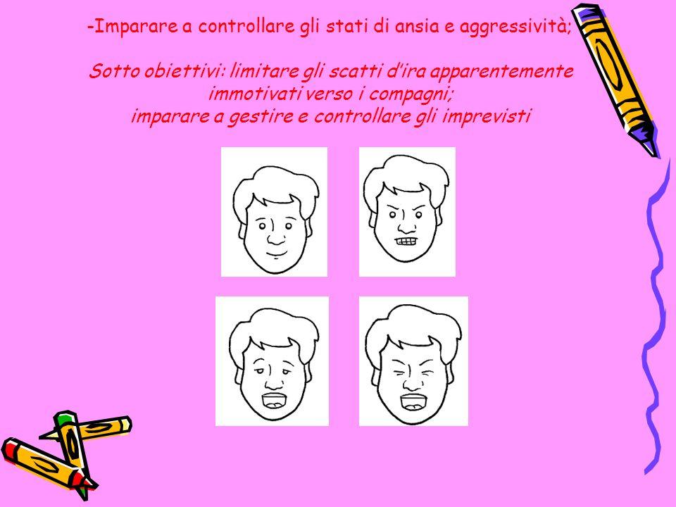 Imparare a controllare gli stati di ansia e aggressività; Sotto obiettivi: limitare gli scatti d'ira apparentemente immotivati verso i compagni; imparare a gestire e controllare gli imprevisti