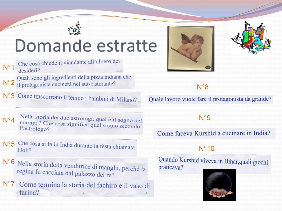 Domande estratte N°1 N°2 N°8 N°3 N°9 N°4 N°5 N°10 N°6 N°7
