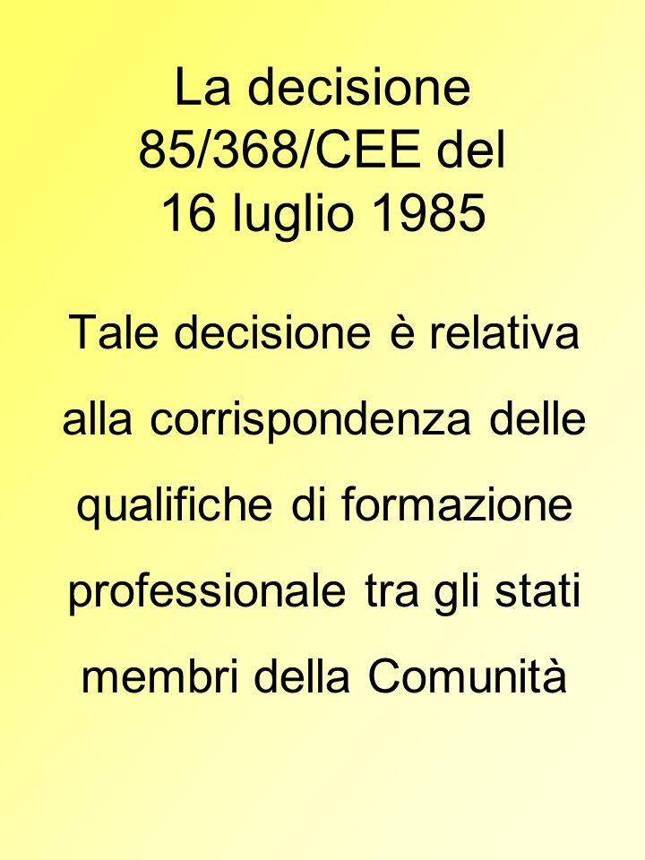 La decisione 85/368/CEE del 16 luglio 1985