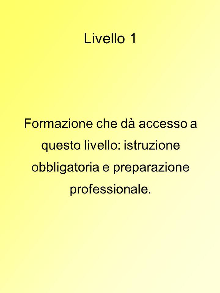 Livello 1Formazione che dà accesso a questo livello: istruzione obbligatoria e preparazione professionale.