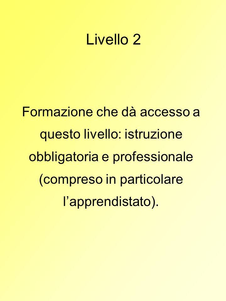 Livello 2Formazione che dà accesso a questo livello: istruzione obbligatoria e professionale (compreso in particolare l'apprendistato).