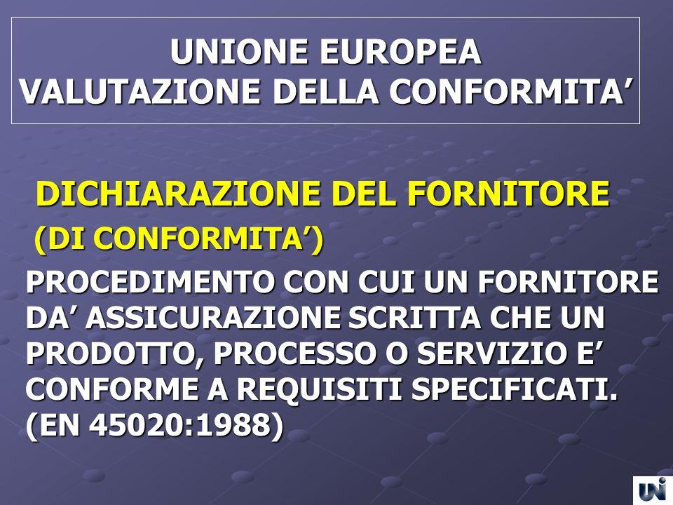 UNIONE EUROPEA VALUTAZIONE DELLA CONFORMITA'