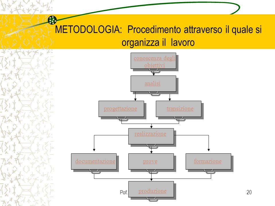 METODOLOGIA: Procedimento attraverso il quale si organizza il lavoro
