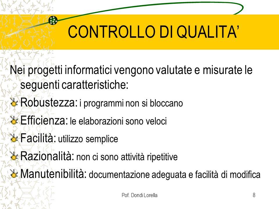 CONTROLLO DI QUALITA' Nei progetti informatici vengono valutate e misurate le seguenti caratteristiche: