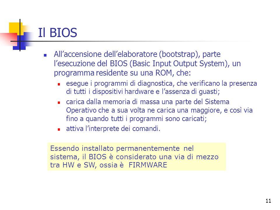Il BIOS All'accensione dell'elaboratore (bootstrap), parte l'esecuzione del BIOS (Basic Input Output System), un programma residente su una ROM, che: