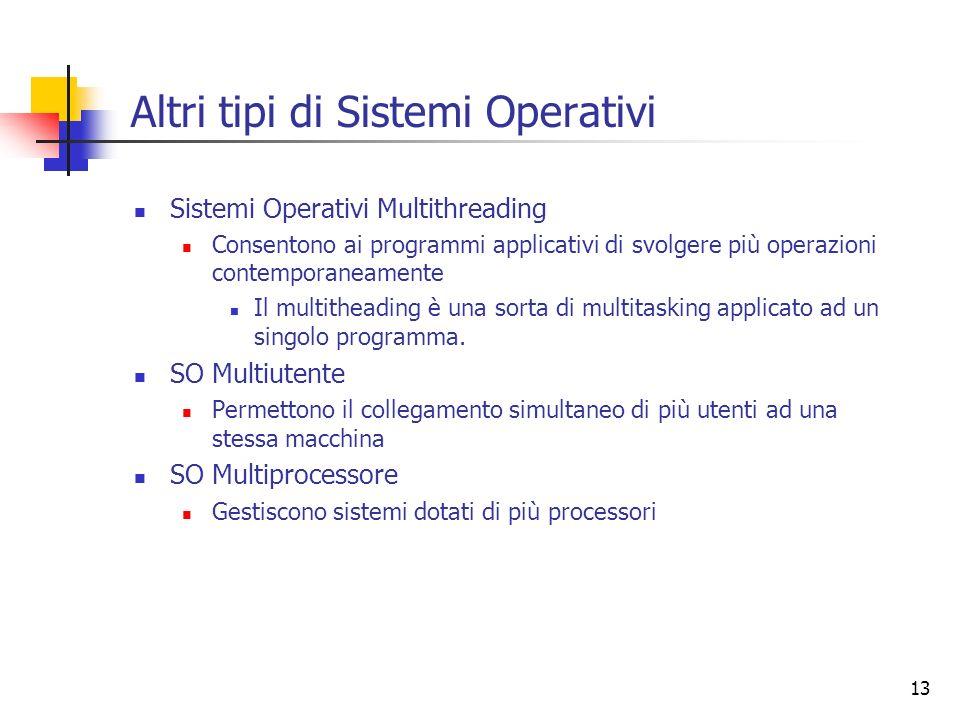 Altri tipi di Sistemi Operativi