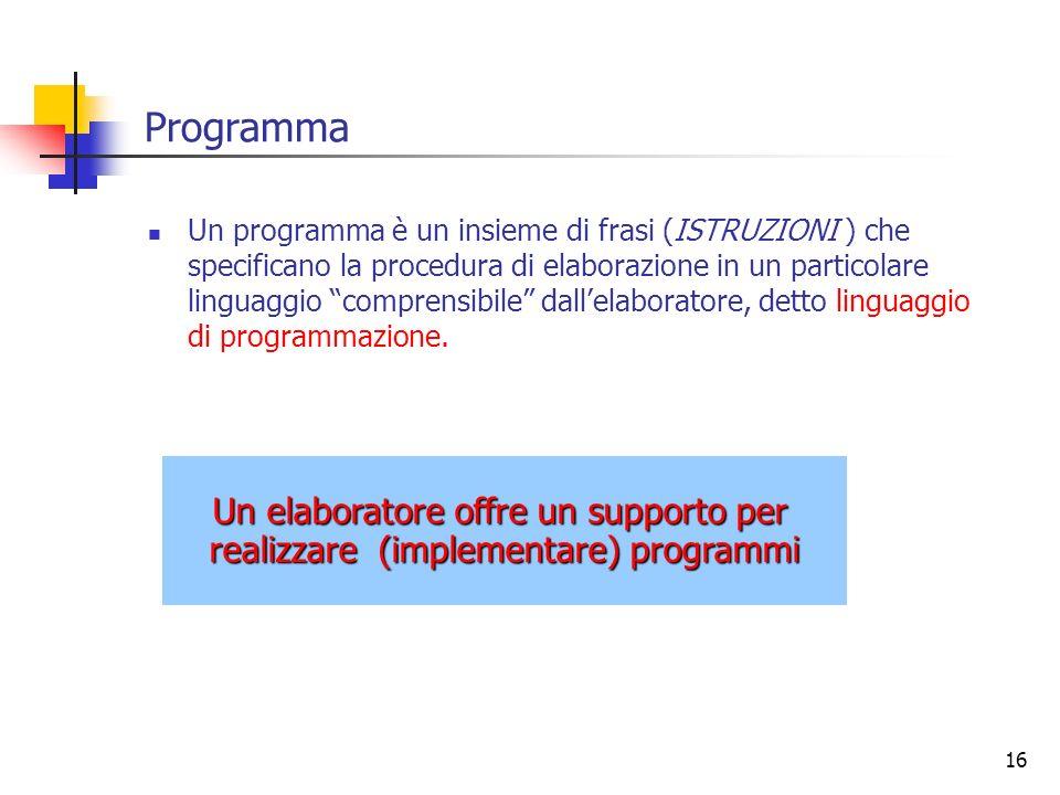 Programma Un elaboratore offre un supporto per