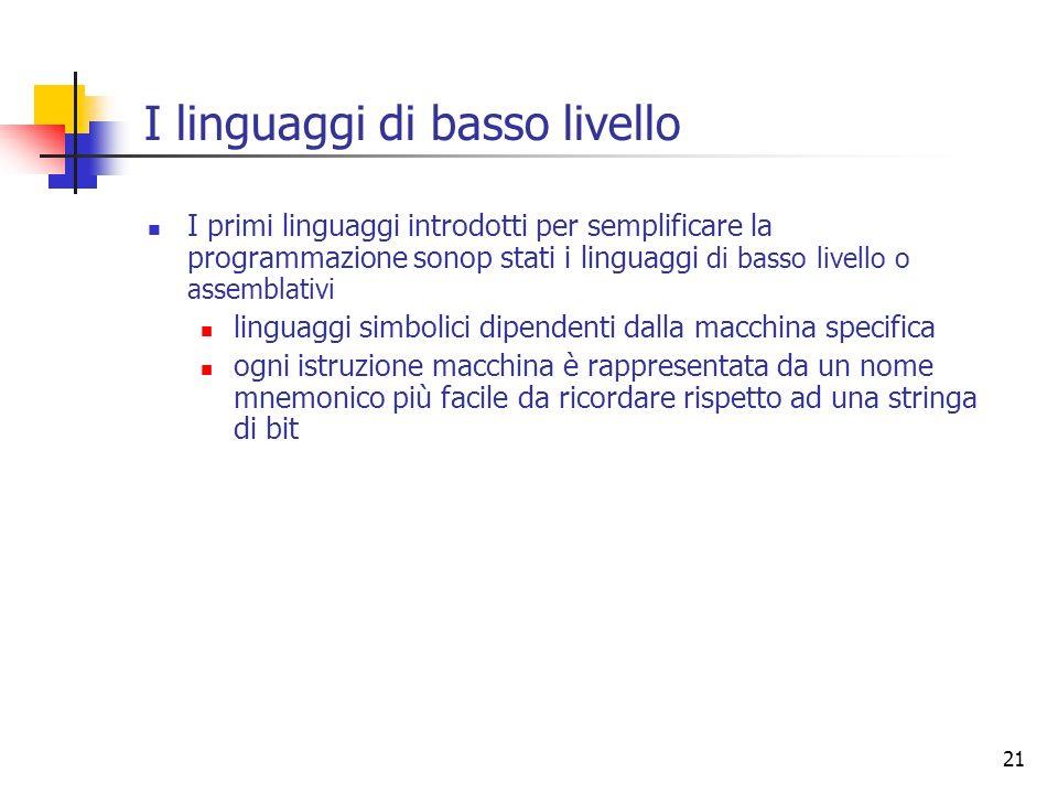 I linguaggi di basso livello
