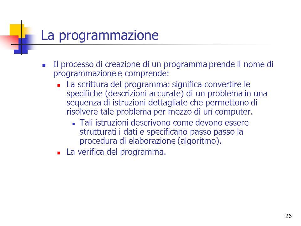 La programmazione Il processo di creazione di un programma prende il nome di programmazione e comprende: