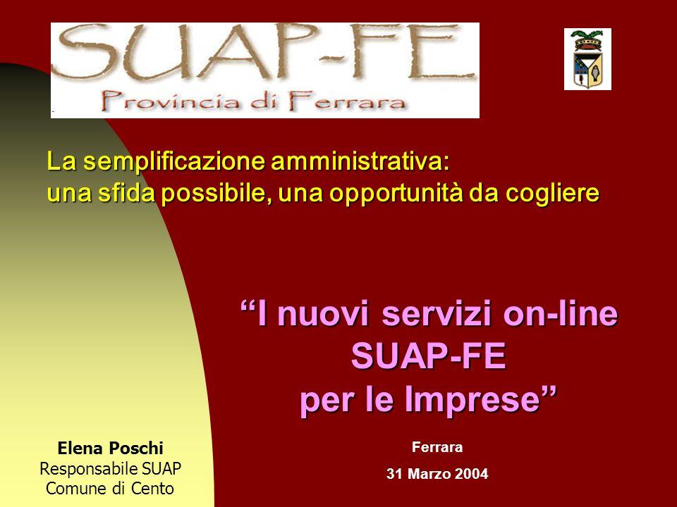 I nuovi servizi on-line SUAP-FE per le Imprese