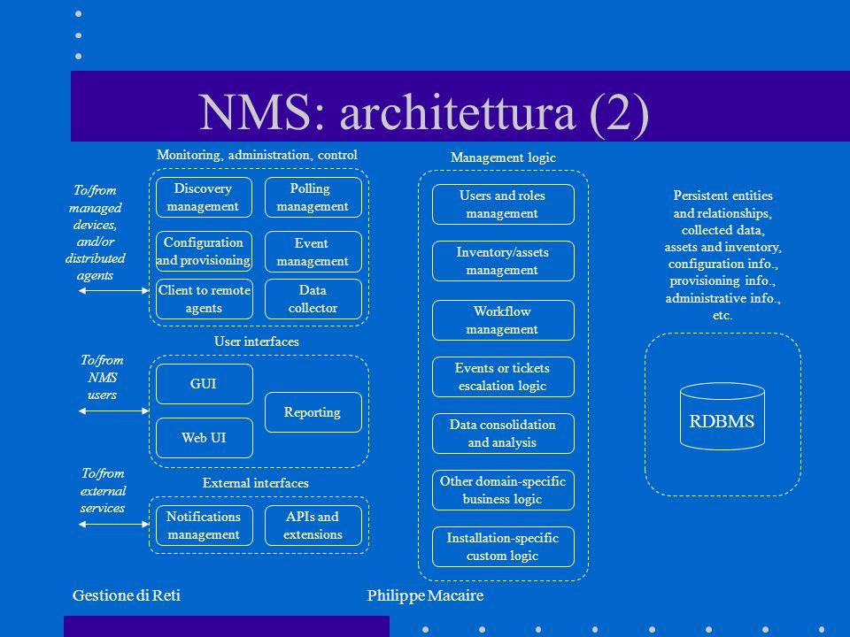 NMS: architettura (2) RDBMS Gestione di Reti Philippe Macaire