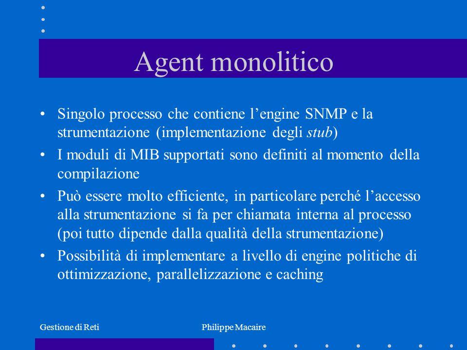 Agent monolitico Singolo processo che contiene l'engine SNMP e la strumentazione (implementazione degli stub)