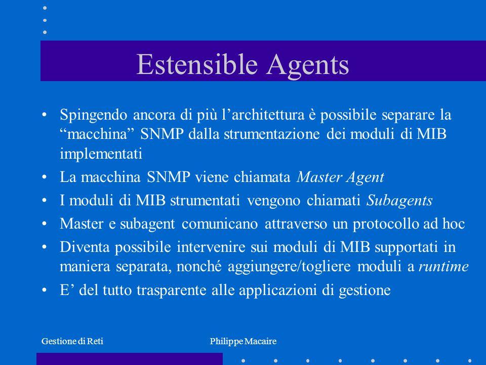 Estensible Agents Spingendo ancora di più l'architettura è possibile separare la macchina SNMP dalla strumentazione dei moduli di MIB implementati.
