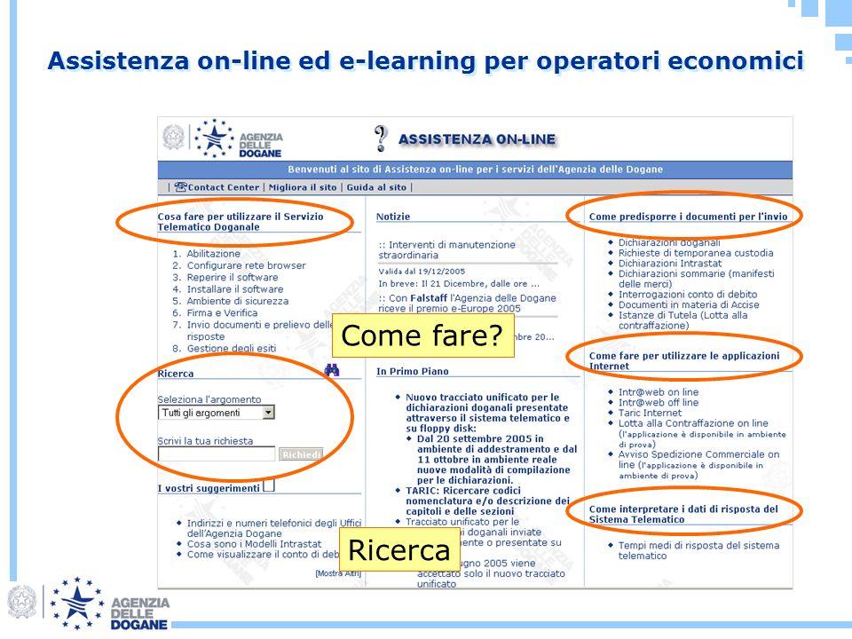 Assistenza on-line ed e-learning per operatori economici