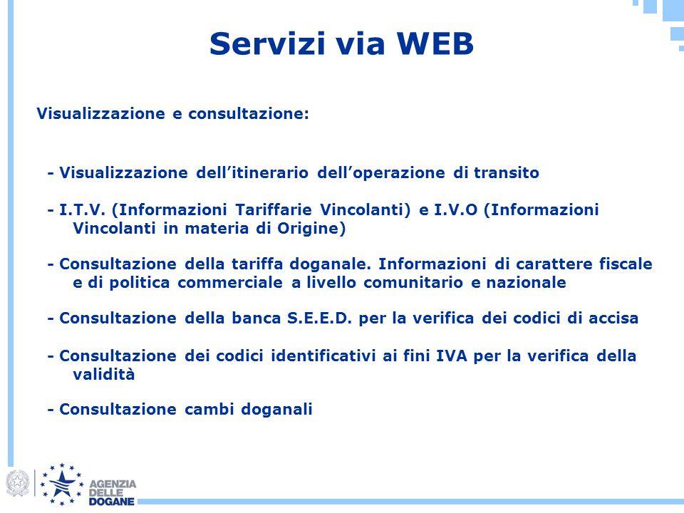 Servizi via WEB Visualizzazione e consultazione: