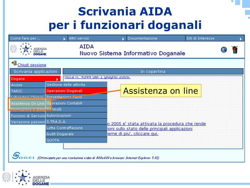 Scrivania AIDA per i funzionari doganali