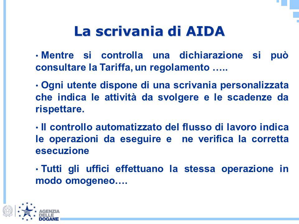 La scrivania di AIDA Mentre si controlla una dichiarazione si può consultare la Tariffa, un regolamento …..