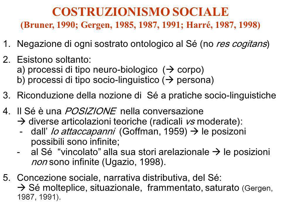 COSTRUZIONISMO SOCIALE (Bruner, 1990; Gergen, 1985, 1987, 1991; Harré, 1987, 1998)