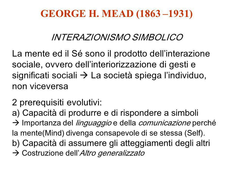 GEORGE H. MEAD (1863 –1931) INTERAZIONISMO SIMBOLICO