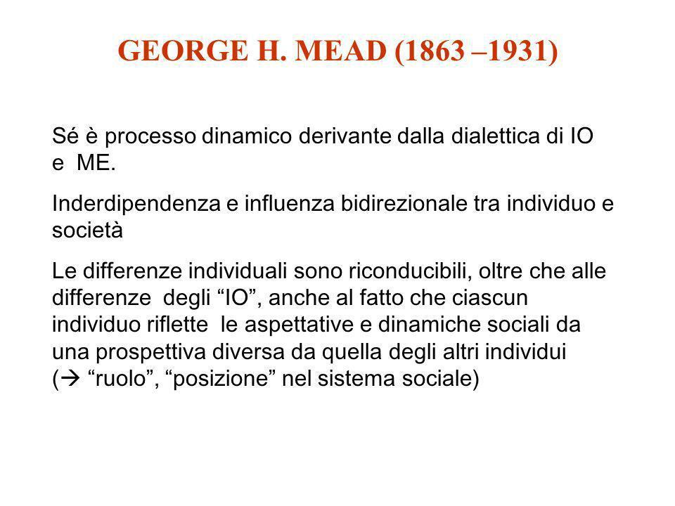 GEORGE H. MEAD (1863 –1931) Sé è processo dinamico derivante dalla dialettica di IO e ME.