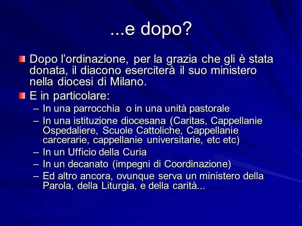 ...e dopo Dopo l'ordinazione, per la grazia che gli è stata donata, il diacono eserciterà il suo ministero nella diocesi di Milano.