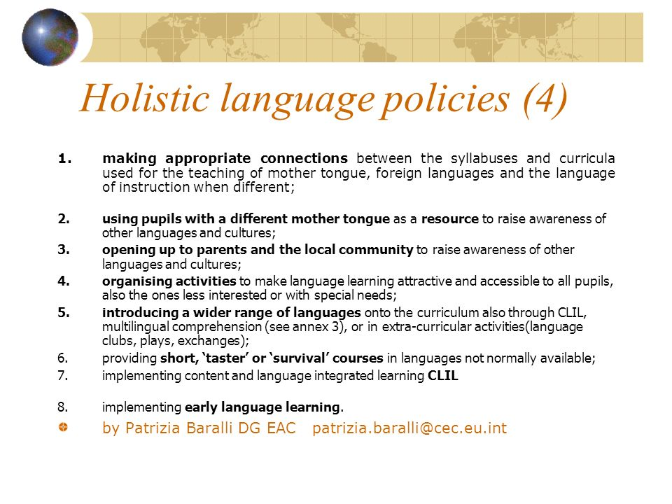 Holistic language policies (4)