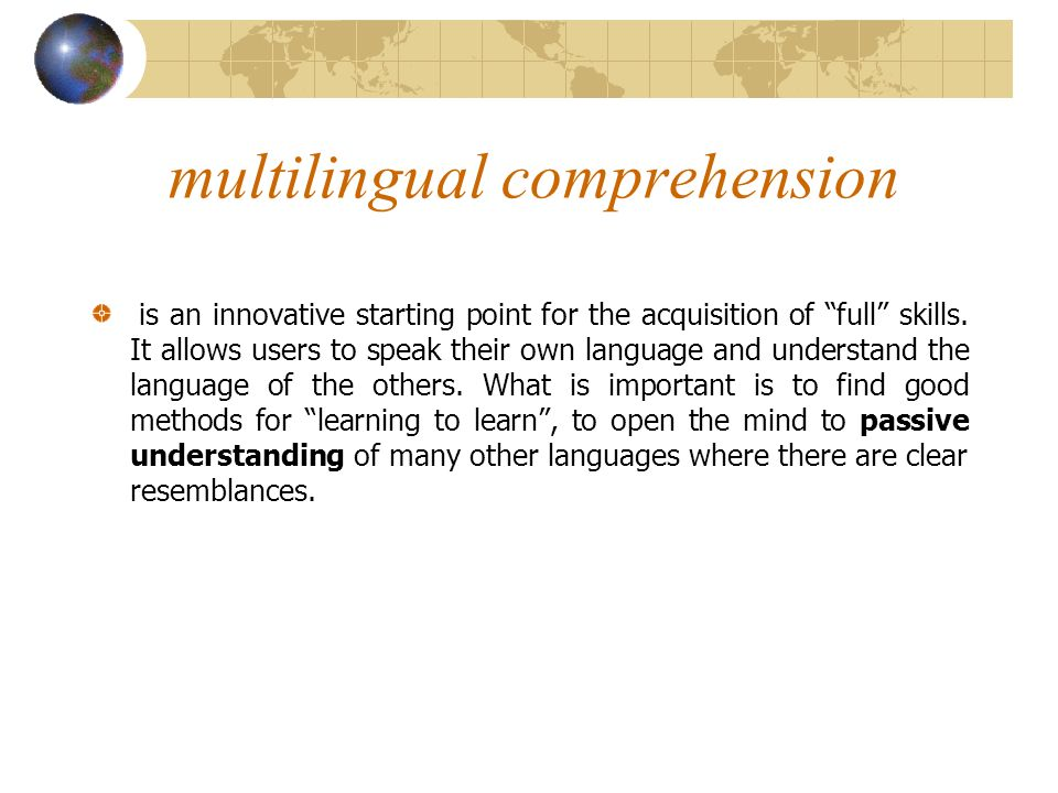 multilingual comprehension