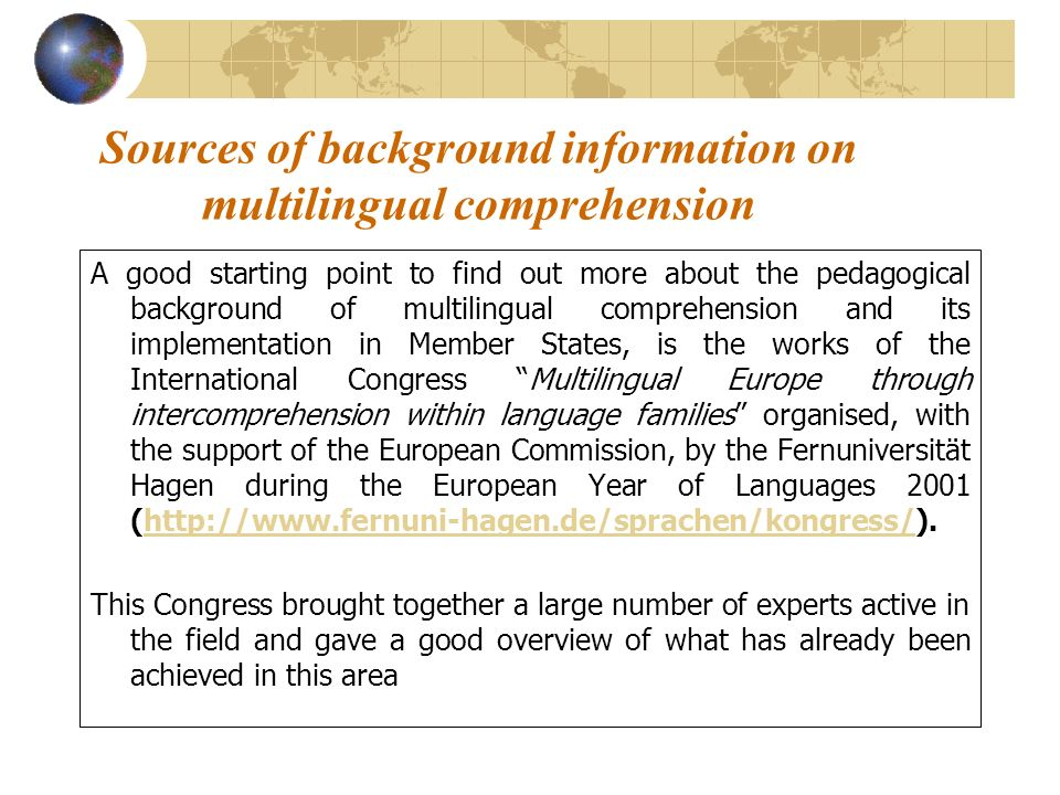Sources of background information on multilingual comprehension