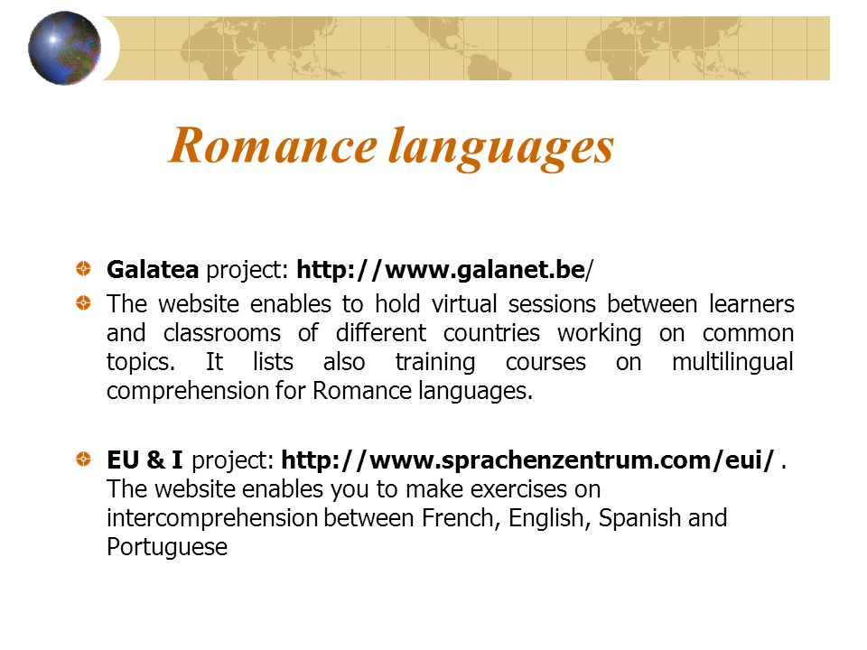 Romance languages Galatea project: