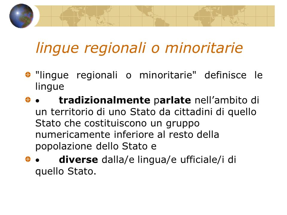 lingue regionali o minoritarie