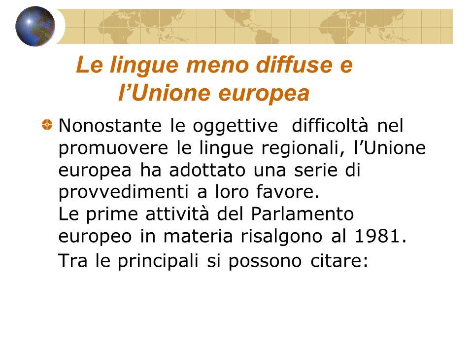 Le lingue meno diffuse e l'Unione europea