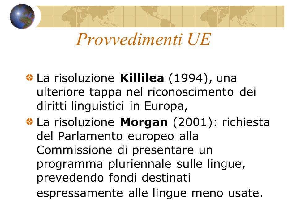 Provvedimenti UE La risoluzione Killilea (1994), una ulteriore tappa nel riconoscimento dei diritti linguistici in Europa,