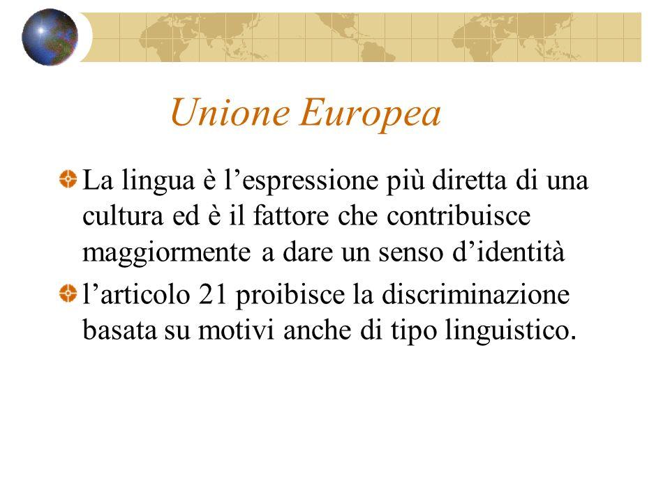 Unione Europea La lingua è l'espressione più diretta di una cultura ed è il fattore che contribuisce maggiormente a dare un senso d'identità.