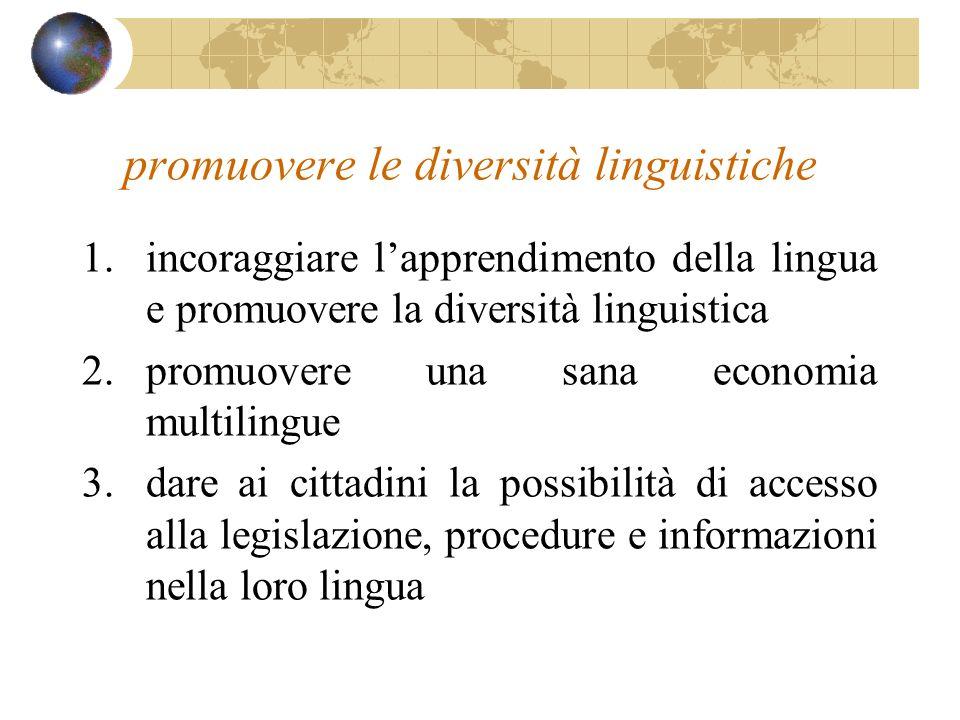promuovere le diversità linguistiche