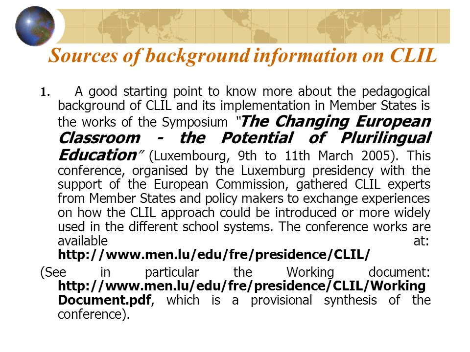 Sources of background information on CLIL