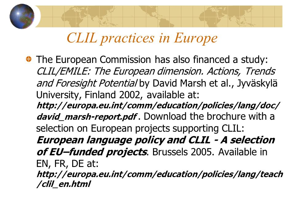 CLIL practices in Europe