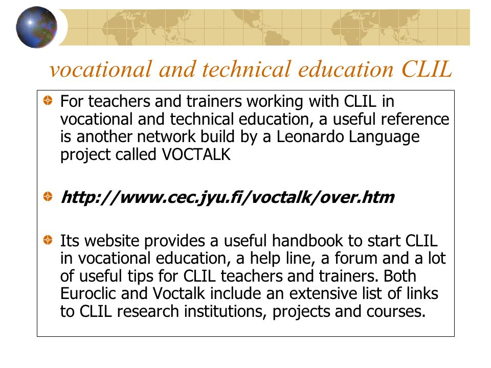 vocational and technical education CLIL