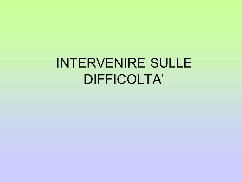 INTERVENIRE SULLE DIFFICOLTA'