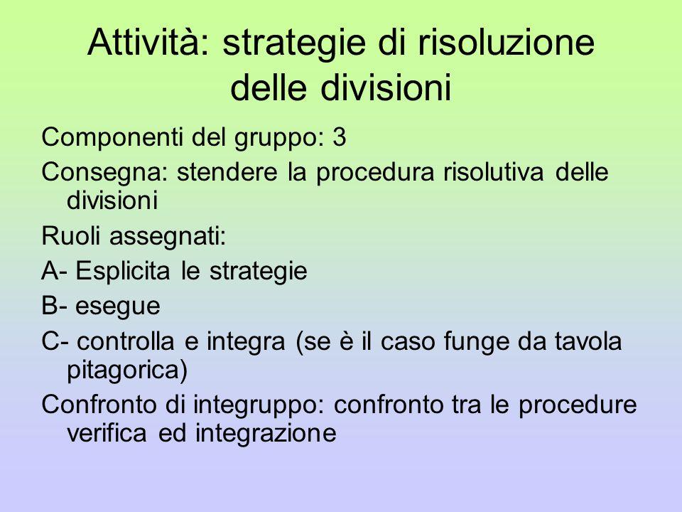 Attività: strategie di risoluzione delle divisioni